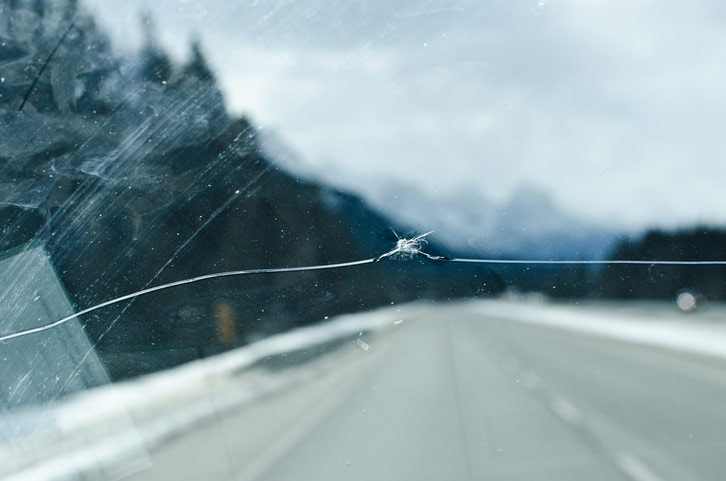 Long windshield crack replacement needed